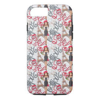 Paris Girl Bonjour Illustration iPhone 8/7 Case