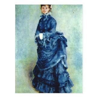 Paris girl the lady in blue by Pierre Renoir Postcard