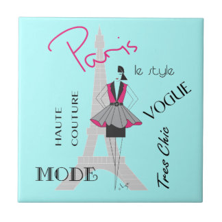 Paris Haute Couture - Fashion, Eiffel Tower Small Square Tile