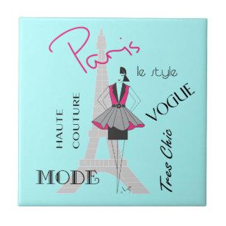 Paris Haute Couture - Fashion, Eiffel Tower Small Square Tile