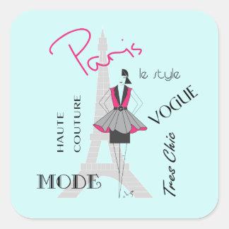 Paris Haute Couture, Fashion, Eiffel Tower Square Sticker