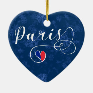 Paris Heart, Christmas Tree Ornament, France Christmas Ornament