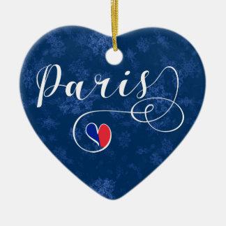 Paris Heart, Christmas Tree Ornament, France Christmas Ornament