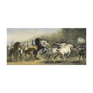 Paris Horse Market 1855 Stretched Canvas Print