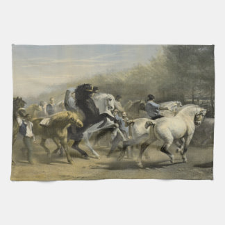 Paris Horse Market 1855 Tea Towel