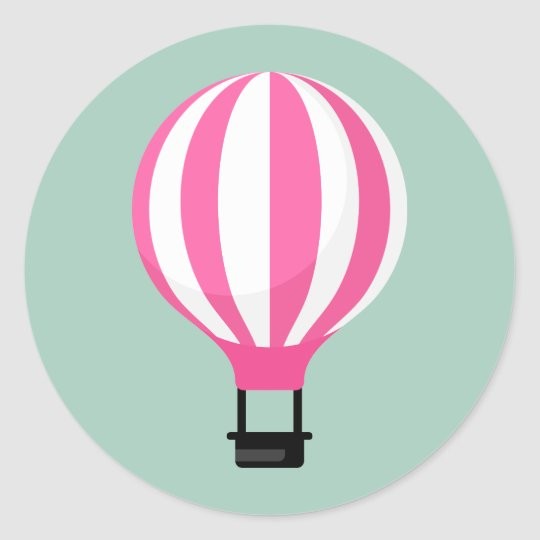 Paris Hot Air Balloon Birthday Sticker
