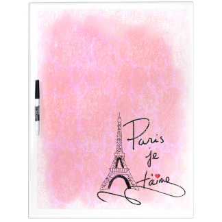 Paris I Love You Pink PXLY Dry Erase Board
