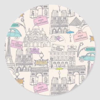 Paris Icons Round Stickers