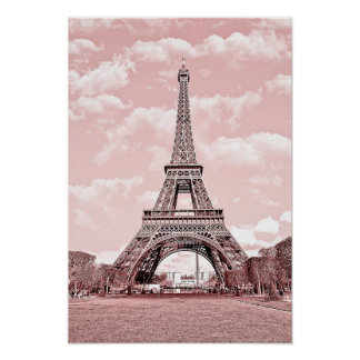 Paris in Pink, Eiffel Towea Poster