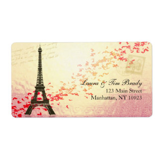 Paris in springtime with hearts shipping label