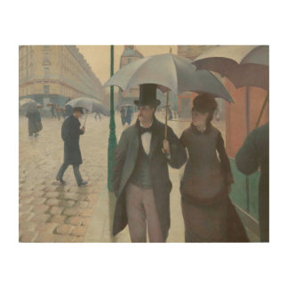 Paris in the Rain by Gustave Caillebotte Wood Print