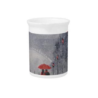 Paris in the snow beverage pitcher