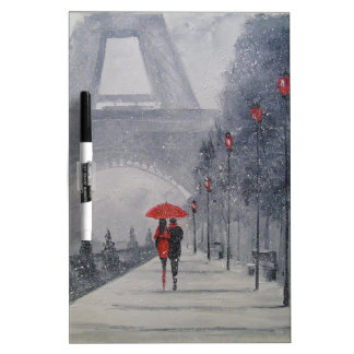 Paris in the snow dry erase whiteboard