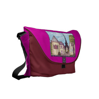 Paris Inspired Cityscape With Eiffel Tower Raspber Courier Bags