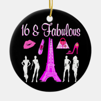 PARIS INSPIRED SWEET 16TH BIRTHDAY DESIGN CHRISTMAS ORNAMENT