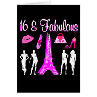 PARIS INSPIRED SWEET 16TH BIRTHDAY DESIGN GREETING CARD