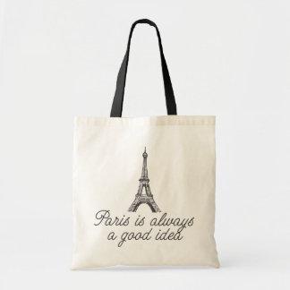 Paris is always a good idea canvas bags
