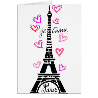 PARIS JE T AIME EIFFEL AND PINK HEARTS GREETING CARD