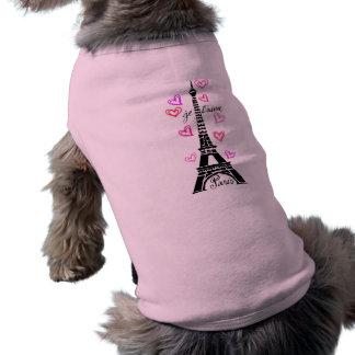 PARIS JE T AIME EIFFEL AND PINK HEARTS DOG TEE