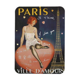 Paris je t' aime, old poster. rectangular photo magnet