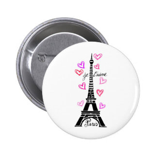 PARIS JE T'AIME EIFFEL AND PINK HEARTS 6 CM ROUND BADGE