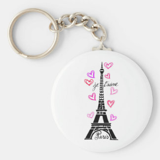 PARIS JE T'AIME EIFFEL AND PINK HEARTS BASIC ROUND BUTTON KEY RING