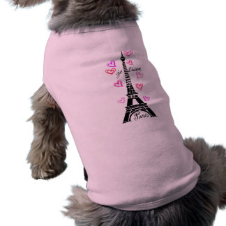 PARIS JE T'AIME EIFFEL AND PINK HEARTS DOG TEE