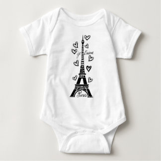 PARIS JE T'AIME EIFFEL TOWER AND HEARTS PRINT BABY BODYSUIT