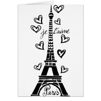 PARIS JE T'AIME EIFFEL TOWER AND HEARTS PRINT GREETING CARD