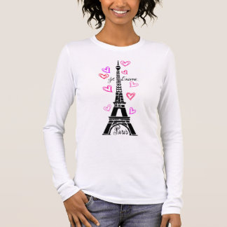 PARIS JE T'AIME EIFFEL TOWER AND HEARTS PRINT LONG SLEEVE T-Shirt