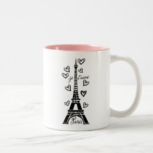 PARIS JE T'AIME EIFFEL TOWER AND HEARTS PRINT MUG