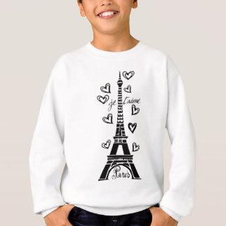 PARIS JE T'AIME EIFFEL TOWER AND HEARTS PRINT SWEATSHIRT