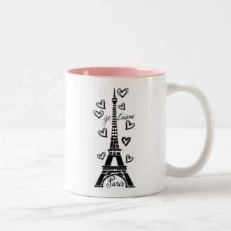 PARIS JE T'AIME EIFFEL TOWER AND HEARTS PRINT Two-Tone COFFEE MUG