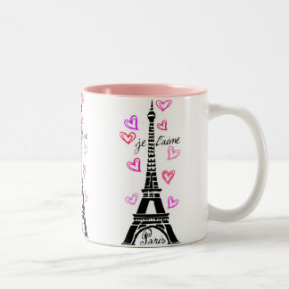PARIS JE T'AIME EIFFEL TOWER AND HEARTS PRINT Two-Tone MUG