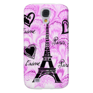 Paris, je t'aime in pink watercolor galaxy s4 case