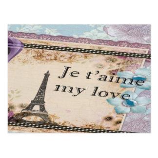 Paris Je t'aime My love Vintage style Postcard