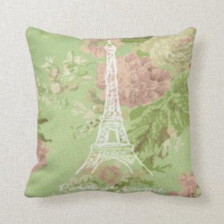 Paris, je t'aime Vintage Floral Eiffel Tower Cushion