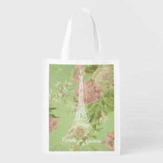 Paris, je t'aime Vintage Floral Eiffel Tower Reusable Grocery Bag