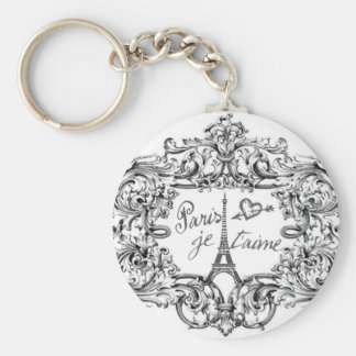 PARIS JET'AIME BAROQUE FRAMED EIFFEL AND HEART BASIC ROUND BUTTON KEY RING