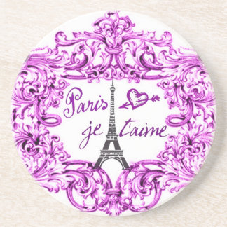 PARIS JET'AIME BAROQUE FRAMED EIFFEL AND HEART BEVERAGE COASTERS