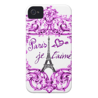 PARIS JET'AIME BAROQUE FRAMED EIFFEL AND HEART iPhone 4 COVER