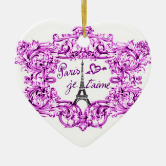 PARIS JET'AIME BAROQUE FRAMED EIFFEL AND HEART CHRISTMAS ORNAMENT