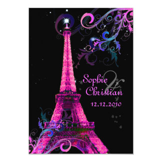 """Paris La Nuit, eiffel tower wedding  invitations 5"""" X 7"""" Invitation Card"""