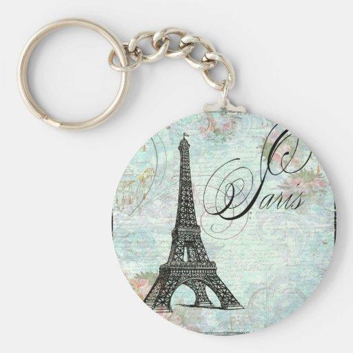 Paris La Tour Eiffel French Design Basic Round Button Key Ring