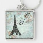 Paris La Tour Eiffel French Design Silver-Colored Square Key Ring