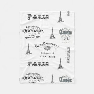 Paris Label Collage Fleece Blanket