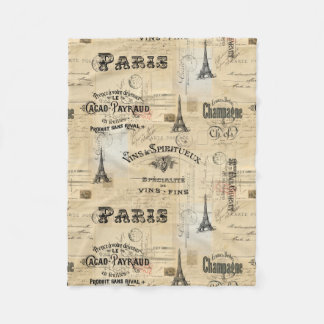 Paris Label Collage French Postcard Fleece Blanket