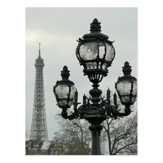 Paris Lamp Post and Eiffel Tower Scene Postcard