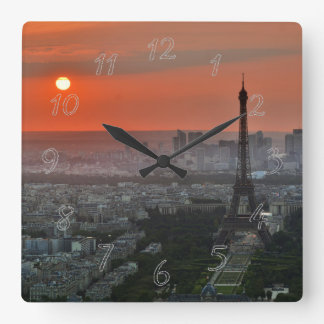Paris landscape square wall clock