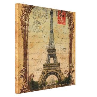 paris landscape vintage eiffel tower decor gallery wrap canvas